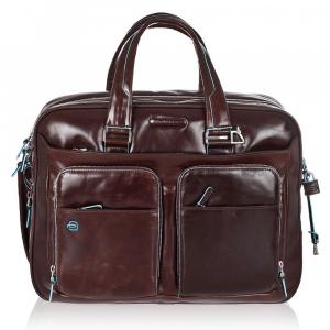 Briefcase  Piquadro Blue square CA2765B2 MOGANO