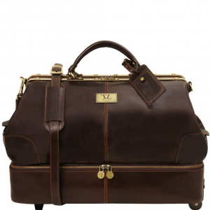 Tuscany Leather TL141451 Siviglia - Two wheeles double-bottom Gladstone leather bag Dark Brown