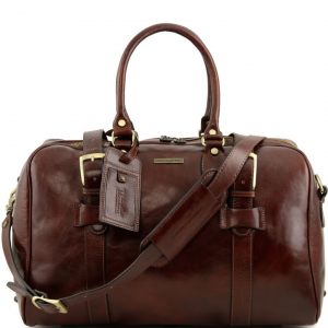Tuscany Leather TL141249 TL Voyager - Leather travel bag with front straps - Small size Brown