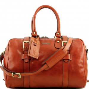 Tuscany Leather TL141249 TL Voyager - Leather travel bag with front straps - Small size Honey