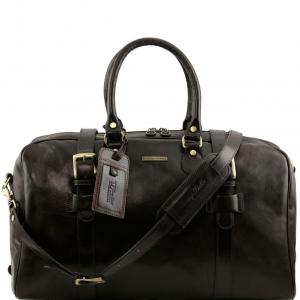 Tuscany Leather TL141248 TL Voyager - Borsa da viaggio in pelle con fibbie - Misura grande Testa di Moro