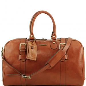 Tuscany Leather TL141248 TL Voyager - Borsa da viaggio in pelle con fibbie - Misura grande Miele