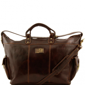 Tuscany Leather TL140938 Porto - Travel leather weekender bag Dark Brown