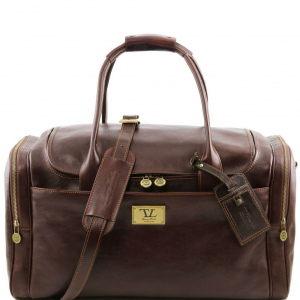 Tuscany Leather TL141296 TL Voyager - Travel leather bag with side pockets Dark Brown