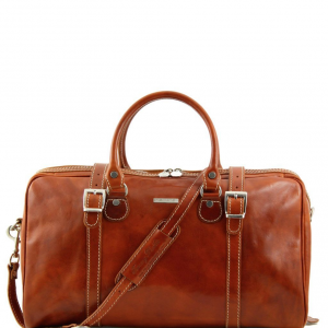 Tuscany Leather TL1014 Berlin - Travel leather duffle bag - Small size Honey