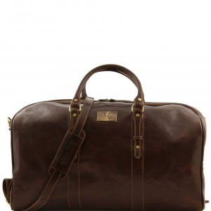 Tuscany Leather FC140860 Francoforte - Exclusive Leather Weekender Travel Bag - Large size Dark Brown