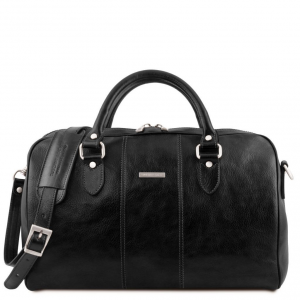 Tuscany Leather TL141658 Lisbona - Travel leather duffle bag - Small size Black