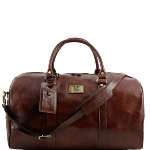 Tuscany Leather TL141247 TL Voyager - Travel leather duffle bag with pocket on the backside - Large size Brown
