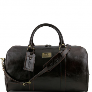 Tuscany Leather TL141247 TL Voyager - Travel leather duffle bag with pocket on the backside - Large size Dark Brown