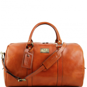 Tuscany Leather TL141247 TL Voyager - Travel leather duffle bag with pocket on the backside - Large size Honey