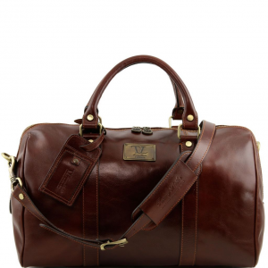 Tuscany Leather TL141250 TL Voyager - Travel leather duffle bag with pocket on the back side - Small size Brown