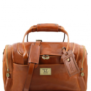 Tuscany Leather TL141441 TL Voyager - Travel leather bag with side pockets - Small size Honey