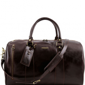 Tuscany Leather TL141217 TL Voyager - Travel leather duffle bag - Large size Dark Brown