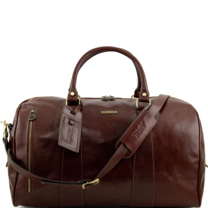 Tuscany Leather TL141217 TL Voyager - Travel leather duffle bag - Large size Brown