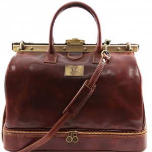 Tuscany Leather TL141185 Barcellona - Double-bottom Gladstone Leather Bag Brown