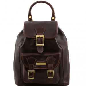 Tuscany Leather TL141342 Kobe - Leather Backpack Dark Brown