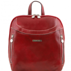 Tuscany Leather TL141557 Manila - Leather backpack Red