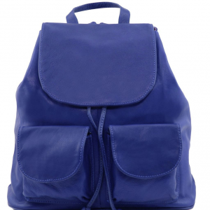 Tuscany Leather TL141507 Seoul - Leather backpack Large size Blue