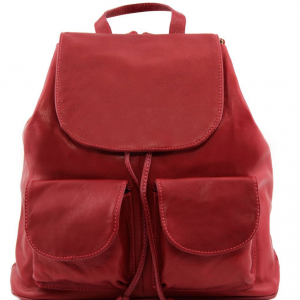 Tuscany Leather TL141507 Seoul - Leather backpack Large size Red