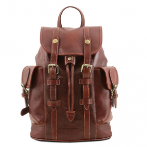 Tuscany Leather TL141661 Nara - Leather Backpack with side pockets Brown