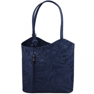 Tuscany Leather TL141676 Patty - Borsa donna convertibile a zaino in pelle stampa floreale Blu scuro