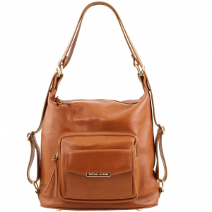 Tuscany Leather TL141535 TL Bag - Sac en cuir convertible en sac à dos Cognac