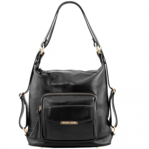 Tuscany Leather TL141535 TL Bag - Sac en cuir convertible en sac à dos Noir