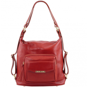 Tuscany Leather TL141535 TL Bag - Sac en cuir convertible en sac à dos Rouge