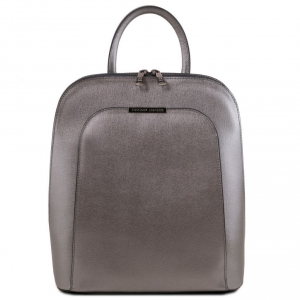 Tuscany Leather TL141631 TL Bag - Saffiano leather backpack for women Iron-grey