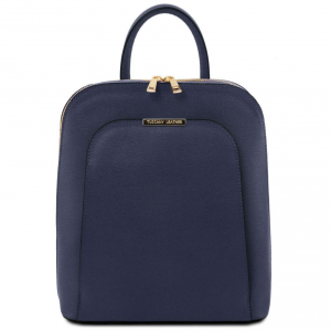 Tuscany Leather TL141631 TL Bag - Saffiano leather backpack for women Dark Blue