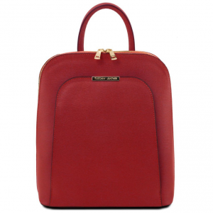 Tuscany Leather TL141631 TL Bag - Saffiano leather backpack for women Red