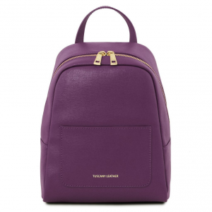 Tuscany Leather TL141701 TL Bag - Small Saffiano leather backpack for woman Purple