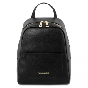 Tuscany Leather TL141701 TL Bag - Small Saffiano leather backpack for woman Black