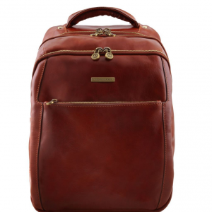 Tuscany Leather TL141402 Phuket - Sac à dos en cuir porte ordinateur avec 3 compartiments Marron