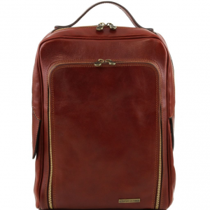 Tuscany Leather TL141289 Bangkok - Leather laptop backpack Brown