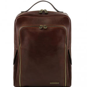 Tuscany Leather TL141289 Bangkok - Leather laptop backpack Dark Brown