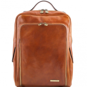 Tuscany Leather TL141289 Bangkok - Leather laptop backpack Honey