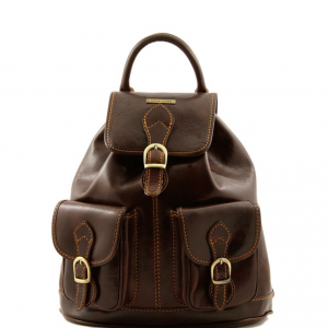 Tuscany Leather TL9035 Tokyo - Leather Backpack Dark Brown