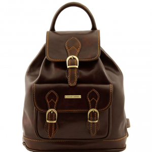Tuscany Leather TL9039 Singapore - Sac à dos en cuir Marron foncé