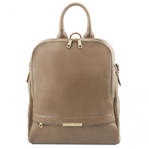Tuscany Leather TL141376 TL Bag - Soft leather backpack for women Dark Taupe