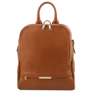 Tuscany Leather TL141376 TL Bag - Soft leather backpack for women Cognac