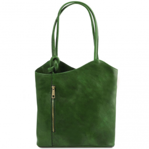 Tuscany Leather TL141497 Patty - Borsa donna in pelle convertibile a zaino Verde