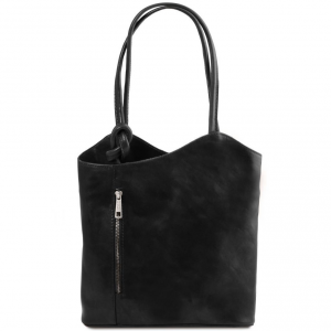 Tuscany Leather TL141497 Patty - Sac en cuir convertible en sac à dos Noir