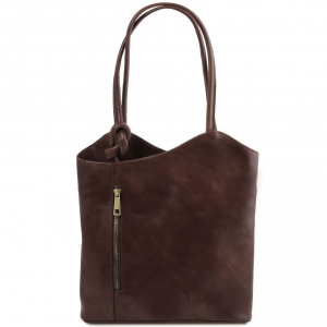 Tuscany Leather TL141497 Patty - Sac en cuir convertible en sac à dos Marron foncé