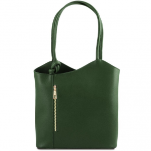 Tuscany Leather TL141455 Patty - Sac en cuir Saffiano convertible en sac à dos Vert