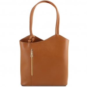 Tuscany Leather TL141455 Patty - Sac en cuir Saffiano convertible en sac à dos Cognac