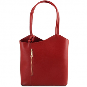Tuscany Leather TL141455 Patty - Sac en cuir Saffiano convertible en sac à dos Rouge