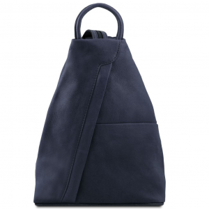 Tuscany Leather TL140963 Shanghai - Leather backpack Dark Blue