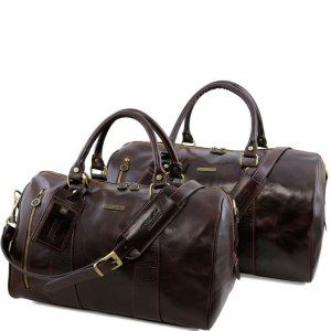 Tuscany Leather TL141246 Marco Polo - Leather travel set Dark Brown