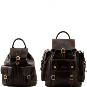 Tuscany Leather TL90173 Trekker - Travel set Leather backpacks Dark Brown